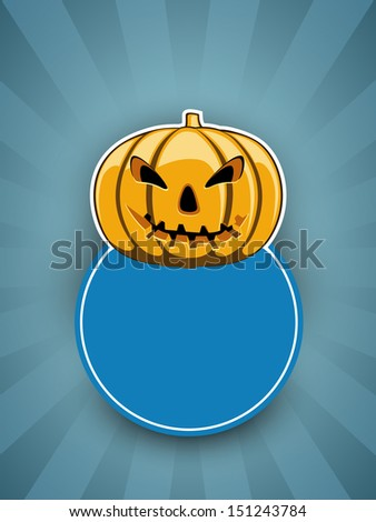 Tag, sticker ot label with smiling halloween pumpkin and blank note for your message.  - stock vector
