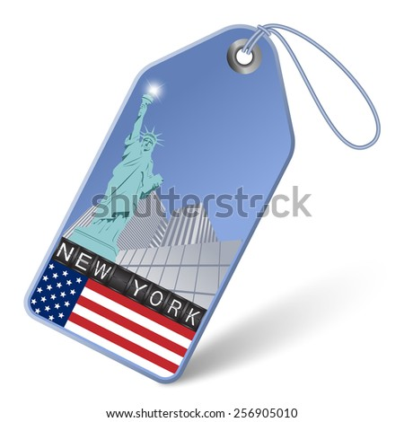Tag with the Statue of Liberty in New York - stock vector