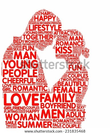 tagcloud vector silhouette of a loving couple - stock vector