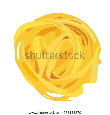 Tagliatelle pasta vector isolated, macaroni icon, pasta collection - stock vector