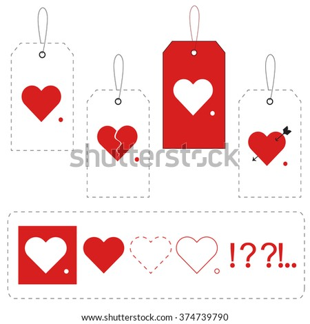 Tags with hearts - stock vector