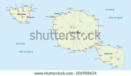 tahiti_moorea map - stock vector
