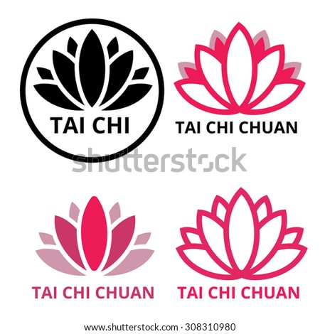 Tai chi chuan logo lotus in pink and black. - stock vector
