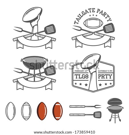 Tailgate party design elements set - stock vector