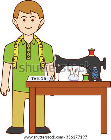 Tailor doodle cartoon design illustration