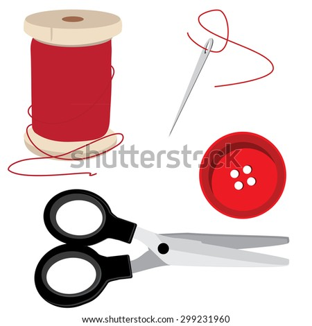 Tailor icon set- red thread bobbin, needle and thread, scissors and round button. Sewing item vector - stock vector
