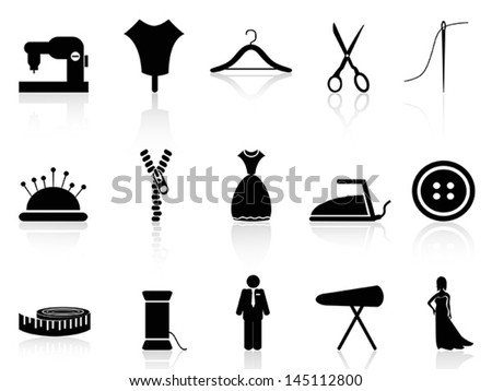 tailor icons set - stock vector