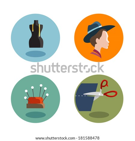 Tailor Icons. Vector format - stock vector