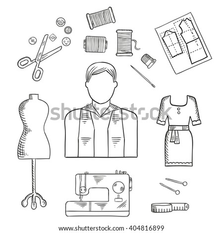 Tailor Profession Sketch Icon Male Dressmaker Stock Vector