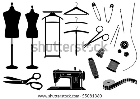 Tailor's objects and equipment black and white silhouettes - stock vector