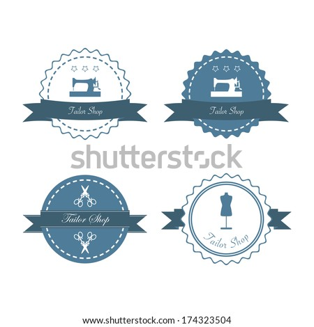 Tailor shop design emblems and labels. Vector illustration - stock vector