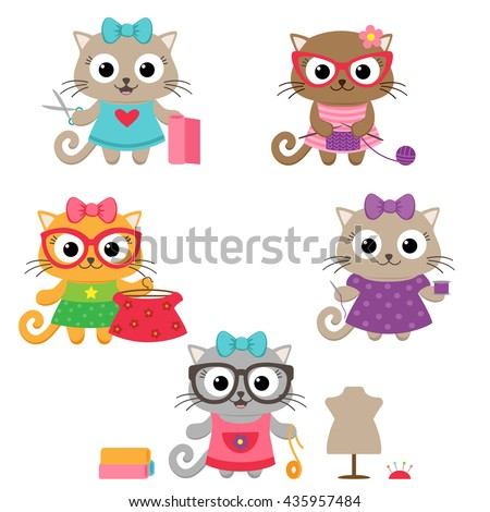 Tailoring vector set. Cute little cat girls with sewing accessories - stock vector