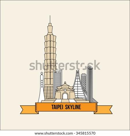 Taipei Skyline - Vector Illustration - Taiwan - stock vector