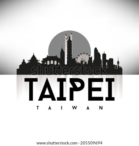 Taipei Taiwan Black Skyline Silhouette vector illustration, Typographic design. - stock vector