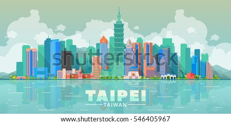 Taipei ( Taiwan ) skyline with panorama in sky background. Vector Illustration. Business travel and tourism concept with modern buildings. Image for presentation, banner, web site.