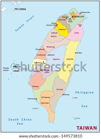Taiwan administrative divisions - stock vector