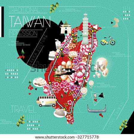Taiwan attractions and dishes travel map with hakka printed cloth
