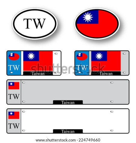 taiwan auto set against white background, abstract vector art illustration, image contains transparency - stock vector