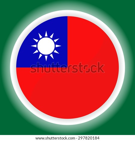 Taiwan flag button on  green  background - stock vector