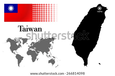 Taiwan info graphic with flag , location in world map, Map and the capital ,Taipei, location.(EPS10 Separate part by part) - stock vector