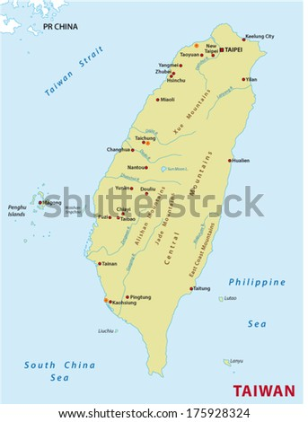 Taiwan map - stock vector