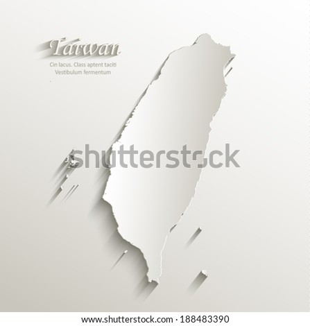 Taiwan map card paper 3D natural vector - stock vector