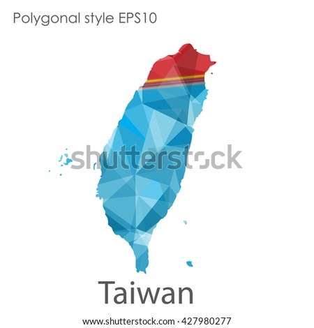 Taiwan map in geometric polygonal style.Abstract triangle Taiwan map.Taiwan modern design background.Mosaic Taiwan map background.