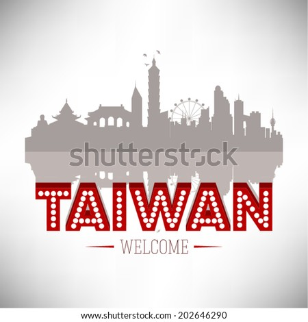 Taiwan Skyline Silhouette vector illustration. - stock vector