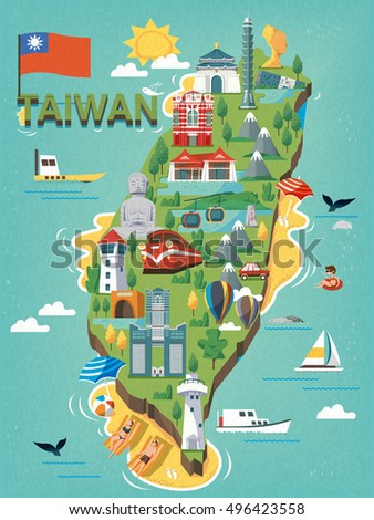 Taiwan travel map, with chinese characters writing sun moon lake on the stele and the red house on the red building