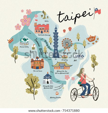 taiwan travel symbols collection hand drawn style famous attractions and delicious snacks in taipei