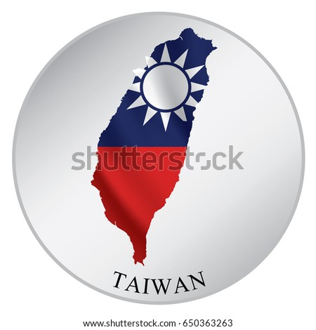 Taiwan vector sticker with flag and map label round tag with country name