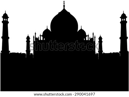 Taj Mahal at Agra, India is one of the wonders of the world - Silhouette