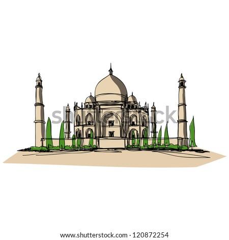 Taj Mahal : sketchbook vector - stock vector
