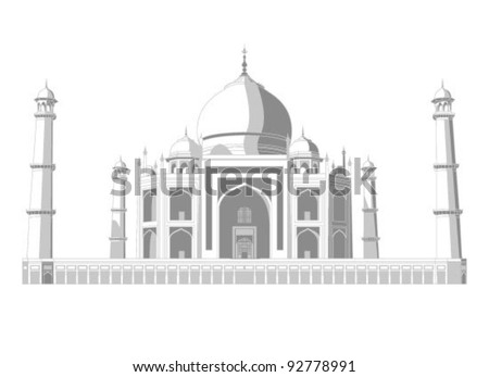 Taj Mahal vector silhouette with shadows in very high detail - stock vector