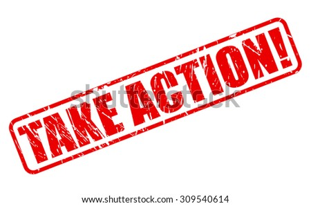 Take Action red stamp text on white - stock vector