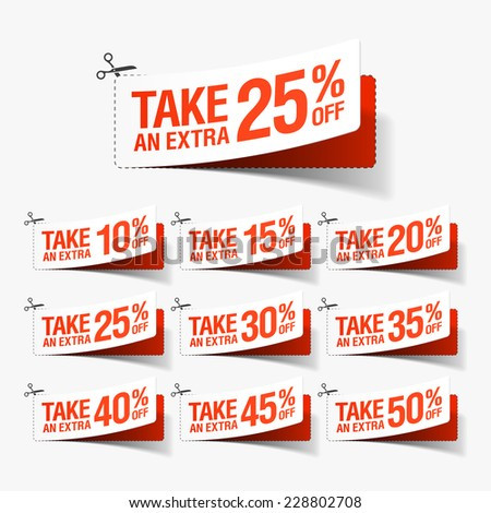 Take an extra sale coupons. Vector. - stock vector