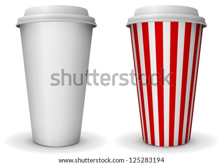 Take-away fast food coffee paper cup vector template. - stock vector