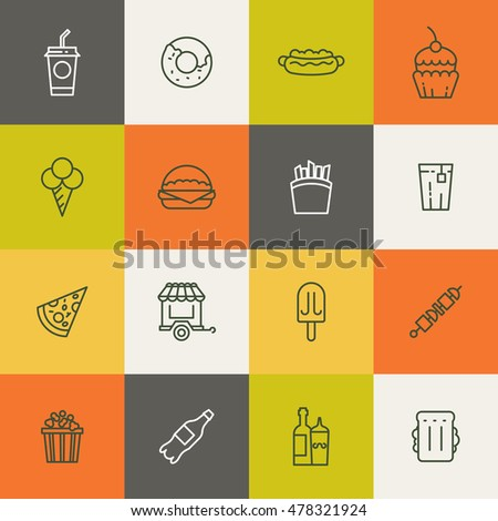 Take away food linear icons. Ice cream and fries, barbecue and popcorn. Vector illustration