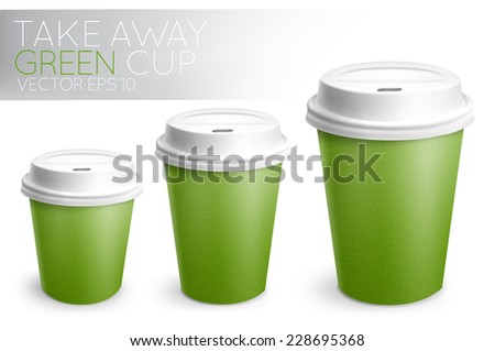 Take away paper cup for drinks green with white plastic cap 3D cup in vector format - stock vector