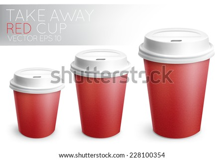 Take away paper cup for drinks red with white plastic cap 3D cup in vector format - stock vector