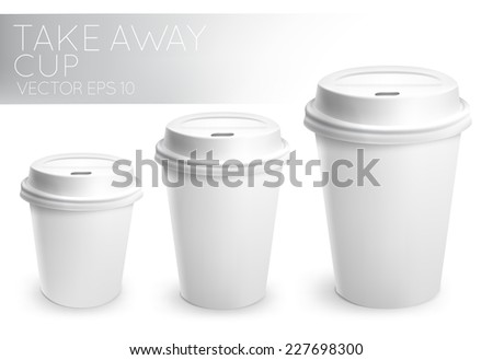 Take away paper cup for drinks white with white plastic cap 3D cup in vector format - stock vector