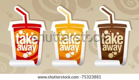 Take away stickers in form of take away cup. - stock vector