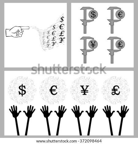 take everything into their own hands and earn a set of global currency and palm. for successful business and make money vector illustration for design and printing  - stock vector