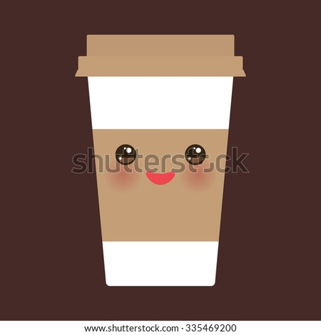 Take-out coffee in Paper thermo coffee cup with brown cap and cup holder. cute face with eyes and smile on dark brown background. Vector