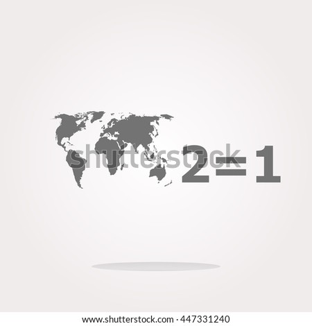 Take two pay for one sale icon button. 2 equals 1 . Vector illustration - stock vector