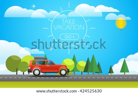 Take Vacation travelling concept. Flat design illustration - stock vector