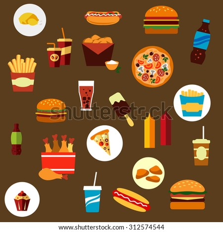 Takeaway and fast food flat icons with french fries, hamburger, pizza, hot dog, ice cream lolly, condiments, and beverages