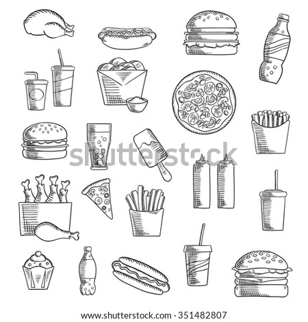 Takeaway and fast food sketched icons with french fries, pizza, hamburger, chicken, cheeseburger, cake, soda drink, hot dog, ice cream, condiments and beverages. Sketch style