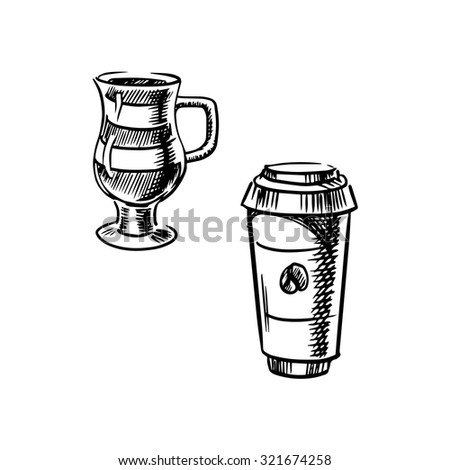 Takeaway coffee paper cup with lid and glass cup of mocha coffee, sketch style - stock vector