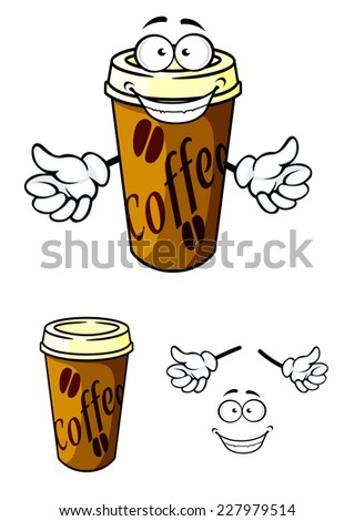 Takeaway cup of coffee in cartoon style for fast food or cafe design - stock vector